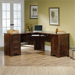 Sauder Harbor View Corner Computer Desk in Curado Cherry