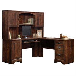 Harbor View Corner Computer Desk with Hutch