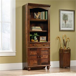 Sauder Harbor View 3 Shelf 2 Door Bookcase in Curado Cherry