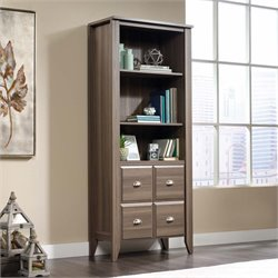 Sauder Shoal Creek 3 Shelf 2 Door Bookcase in Diamond Ash