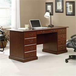 Executive Desk in Cherry with Black Inlay Top