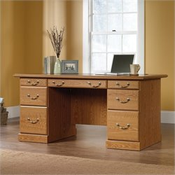 Sauder Orchard Hills Executive Desk in Carolina Oak