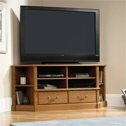 Corner TV Stand in Carolina Oak