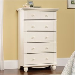 Sauder Harbor View 5-Drawer Chest in Antiqued White