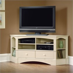 Sauder Harbor View Corner TV Stand in Antiqued White