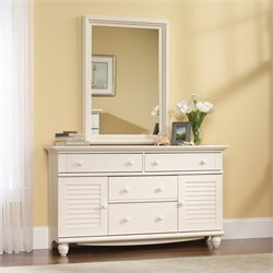 Dresser and Mirror Set in Antiqued White