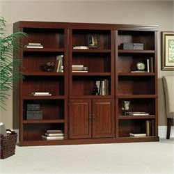 3 Shelves Wall Bookcase With Cabinet in Cherry