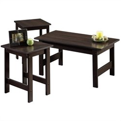 Sauder Beginnings 3 Piece Coffee Table Set in Cinnamon Cherry