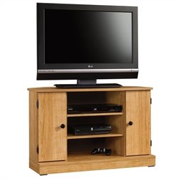 Sauder Beginnings Corner TV Stand in Highland Oak