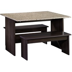 Sauder Beginnings Drop Leaf Table With Benches in Cinnamon Cherry