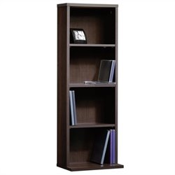 Sauder Beginnings Multimedia Storage Tower in Cinnamon Cherry Finish