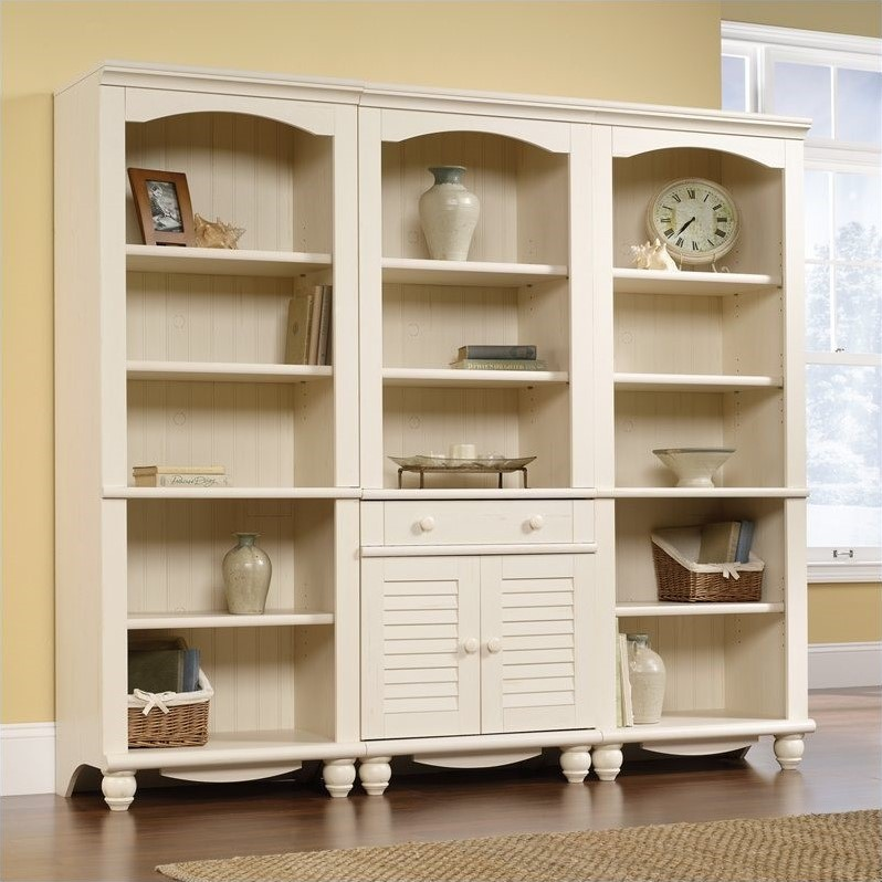 Library Wall Bookcase in Antiqued White