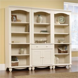 Sauder Harbor View Library Wall Bookcase in Antiqued White