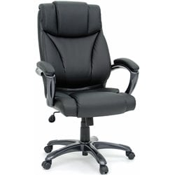 Executive Office Chair Leather Black in Office Chair Black