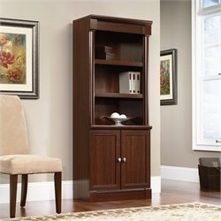 Library Bookcase with Doors in Cherry