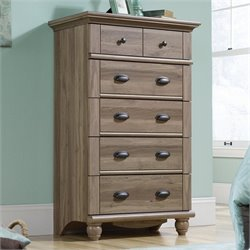 Sauder Harbor View 5 Drawer Chest in Salt Oak