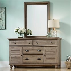 Dresser and Mirror in Salt Oak