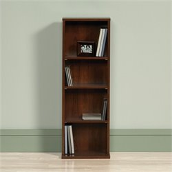 Sauder Beginnings 4 Shelf Media Tower in Brook Cherry