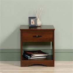 Sauder Beginnings Nightstand in Brook Cherry