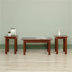 Sauder Beginnings 3 Piece Coffee Table Set in Brook Cherry