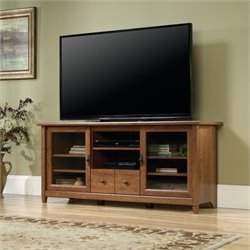 Sauder Edge Water TV Stand in Auburn Cherry
