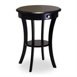 Wood Round Accent End Table with Drawer Curved Legs in Black