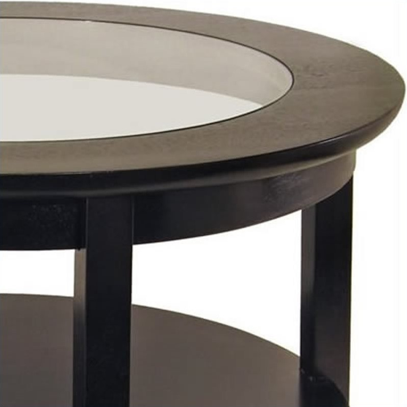 Round Wood Coffee Table With Glass Top In Dark Espresso 92219