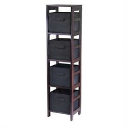 Winsome Leo 4-Section Tall Storage Shelf with 4 Foldable Black Baskets