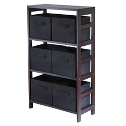 Winsome Capri 3 Shelf Storage Rack with 6 Foldable Black Baskets