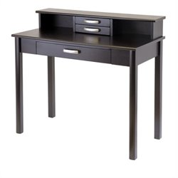 Wood Writing Desk with Hutch in Dark Espresso