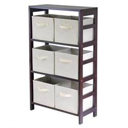 Winsome Leo 3-Section Wide Storage Shelf with 6 Foldable Beige Baskets