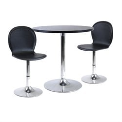 Winsome Spectrum 3pc Dining Table Set w/ 2 Swivel Stools in Black/Metal