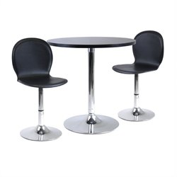 3pc Dining Table Set w/ 2 Swivel Stools in Black/Metal