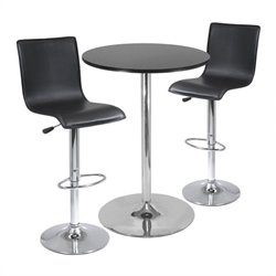 Winsome Spectrum High Back 3 Piece Pub/Bar Table Set in Black & Chrome