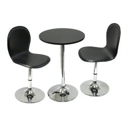 Pub Table Set with 2 Bar Stools in Black and Chrome