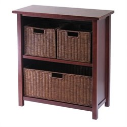 2 Shelf Storage Unit with 3 Wired Baskets in Antique Walnut