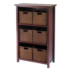 3 Shelf Storage Unit with 6 Wired Baskets in Antique Walnut