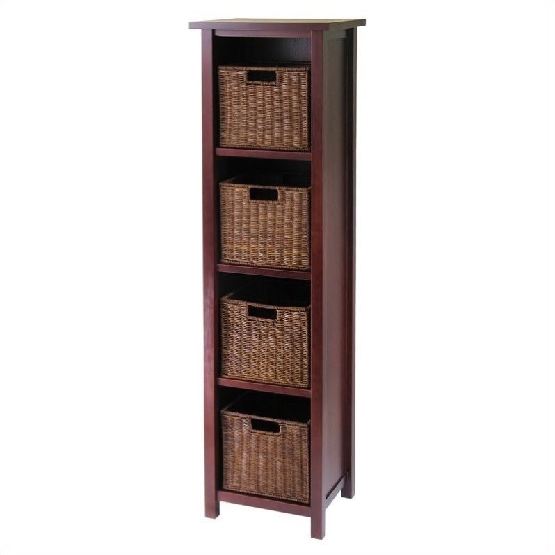 5-Tier Tall Storage Shelf with 4 Wired Baskets in Antique Walnut