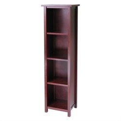 Winsome Milan Tall Storage Shelf in Antique Walnut