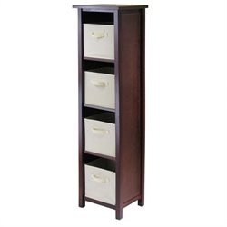 5-Tier Tall Storage Shelf with 4 Foldable Beige Fabric Baskets