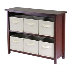 3-Tier Long Storage Shelf with 6 Foldable Beige Fabric Baskets