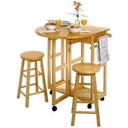 Mobile Breakfast Bar/Table Set with 2 Stools in Natural