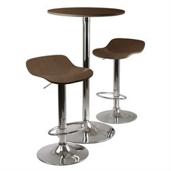 3pc Pub Table and Stools Set in Cappuccino