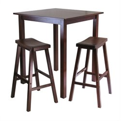 3 Piece Square Pub Table Set in Antique Walnut