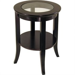 Espresso Wood Dark Brown End Table with Glass Top