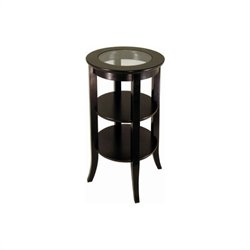 Espresso Wood End Table with Glass Top