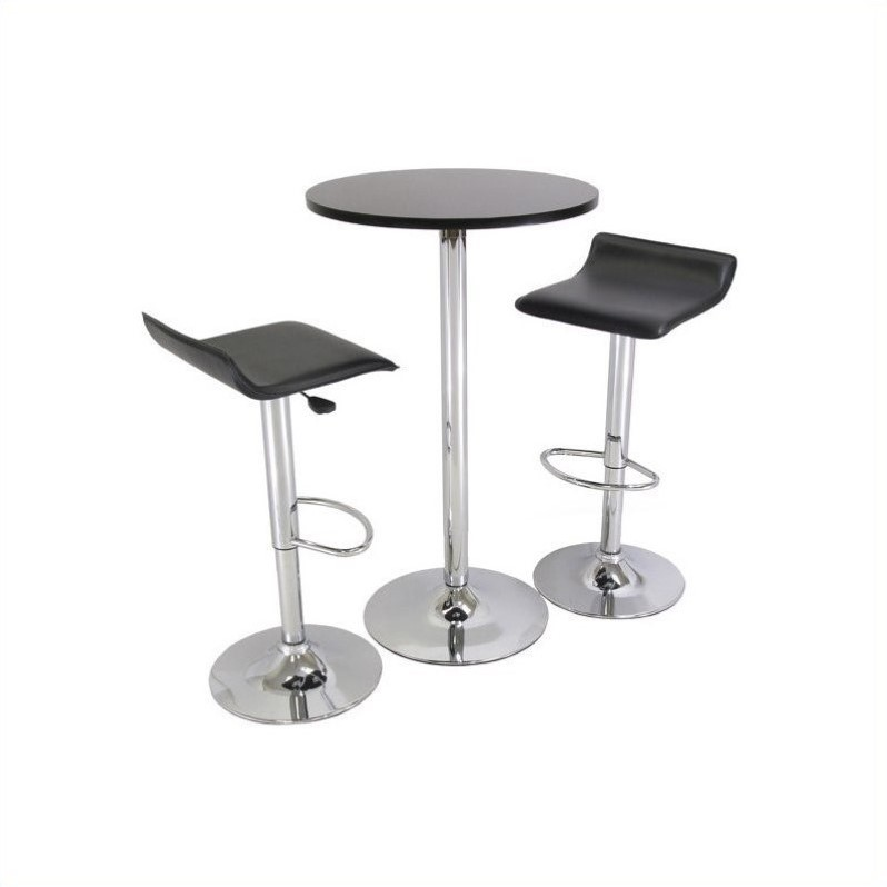 Backless 3 Piece Pub Set In Black Amp Chrome Finish 93324