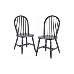 Winsome Windsor Dining Chair in Black (Set of 2)