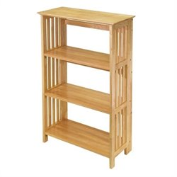 4-Tier Folding Bookcase in Beech Finish