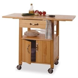 Butcher Block Kitchen Cart with Drop Leaf in Natural Finish
